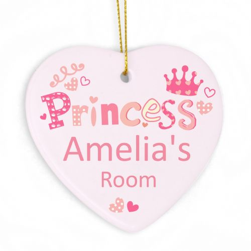 Personalised Princess Heart Decoration
